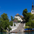 Bled island with its steep staircase, Lake Bled, Slovenia. — Stock Photo #49371391