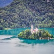 View of Bled Island from Bled Castle, Lake Bled, Slovenia. — Stock Photo #49371443