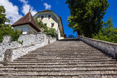 Steep stony staircase on Bled Island, Lake Bled, Slovenia. — Stock Photo