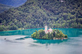 View of Bled Island from Bled Castle, Lake Bled, Slovenia. — Stock Photo