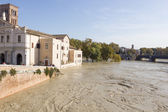 Tiber Island and a flooded Tiber, Rome, Italy — Stock Photo