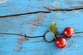 Mini apples on the blue bench — Stock Photo