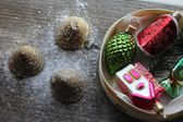 Christmas retro balls and cookies — Stock Photo