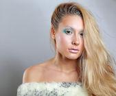 Portrait of beautiful woman , isolated on grey background — Stockfoto