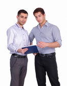 Young two men standing with folder, isolated on white backgroun — Stock Photo