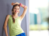 Fashionable young woman in summer dress . — Stock Photo