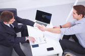 Business people handshake, sitting in the office — 图库照片