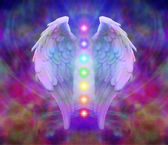 Angel Wings and Seven Chakras — Stock Photo