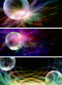 3 x Creative Bubble Website Banner Headers — Stock Photo
