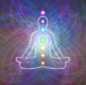 Chakra meditation on energy matrix web — Stock Photo