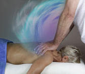 Transferring energy during healing massage — Stock Photo