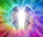Angel Wings on Rainbow Spiral — Stock Photo