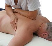 Therapist applying pressure with forearm — Zdjęcie stockowe