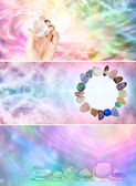 Crystal healing website banners — Stock Photo