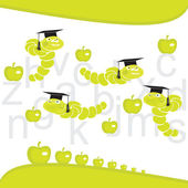 Clever worms and apples — Stock Vector