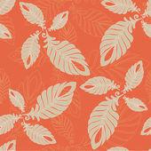 Seamless modello astratto foglie e piume — Vettoriale Stock
