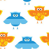 Seamless texture funny owl — Stock Vector