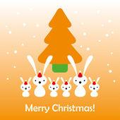 Christmas bunny card — Stock Vector