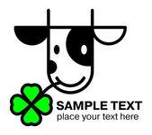 Icono cabeza de vaca de dibujos animados — Vector de stock