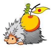 Hedgehog with apple — Stock Photo