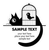 ładny kot i ptak — Wektor stockowy