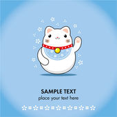 Maneki neko greeting card — Vector de stock