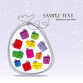 Christmas bag with gifts — Stock Vector