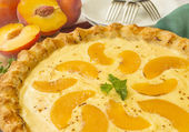 Peach custard pie — Stock Photo