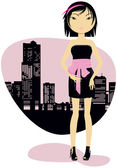 Girl and city silhouette — Stock Vector