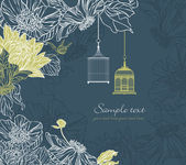 Background with birdcage and flowers  — Vector de stock