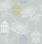 Vector pattern of flowers and birdcage — Stok Vektör