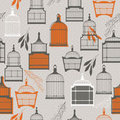 Vintage birds and birdcages collection. Pattern. Wallpaper. — Stok Vektör