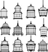 Se of vintage birdcages — Stock Vector