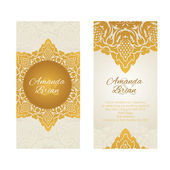 Vintage greeting cards  in east style gold color — Stock Vector