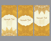 Greeting cards  in east style on gold background — Stock Vector