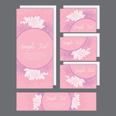 Set of wedding invitations card with lily pink — Stock Vector