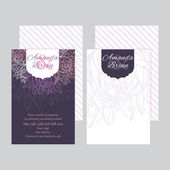 Set of wedding invitations card purple background 02 — Stock Vector