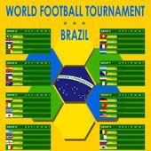 Gráficos de informação do mundo de futebol torneio brasil — Vetorial Stock