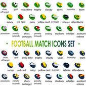 2014, football tournament match icons set Brazil — Vector de stock