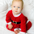 Baby girl dressed as Santa Claus — Stock Photo #48443755