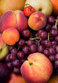 Grapes, peach, cherry, apple, apricot — Stockfoto