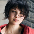 Japanese girl with short hair with freckles — Stock Photo #50257821