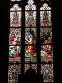 Stained glass in the Basilica of Saints Peter and Paul — Stockfoto