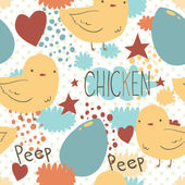 The cute little chicken seamless pattern. — Stockvector