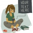 Girl Writing Text Message — Stock Vector