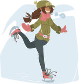 Girl on Skates. — Stock Vector