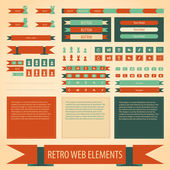 Vector retro vintage web elements set. — Stock Vector
