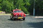 Red SAAB car at race track at Leopolis Grand Prix — Foto Stock