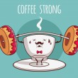 "Illustration ""Coffee Strong"" — Stock Vector #47808227"