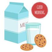 "Illustration ""Milk and cookies"" — Stock Vector"